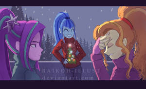 <b>The Holidays With The Dazzlings.</b><br><i>RaikohIllust</i>