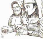 Luminara and Obi Wan drinking tea