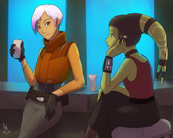 Hanging out at a pub of some sort by RaikohIllust