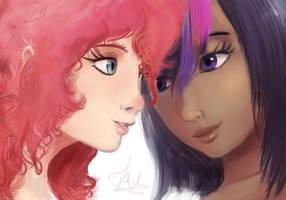 Human Pinkie and Twilight by RaikohIllust