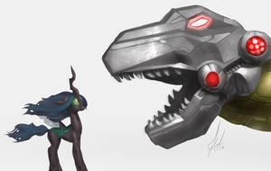 Grimlock roars to bug horse