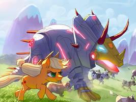 Applejack herding the cows with Slug