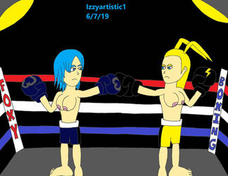 Aqua vs. Larxene topless foxy boxing by izzyartistic1