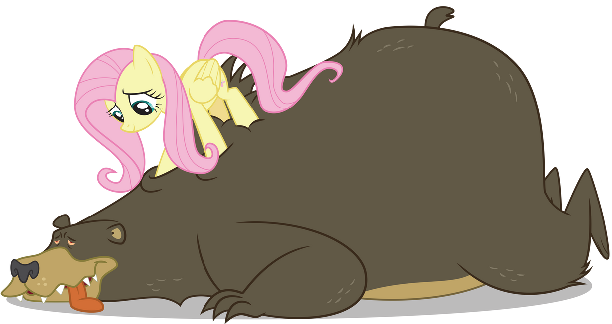 Fluttershy and Bear by alien13029