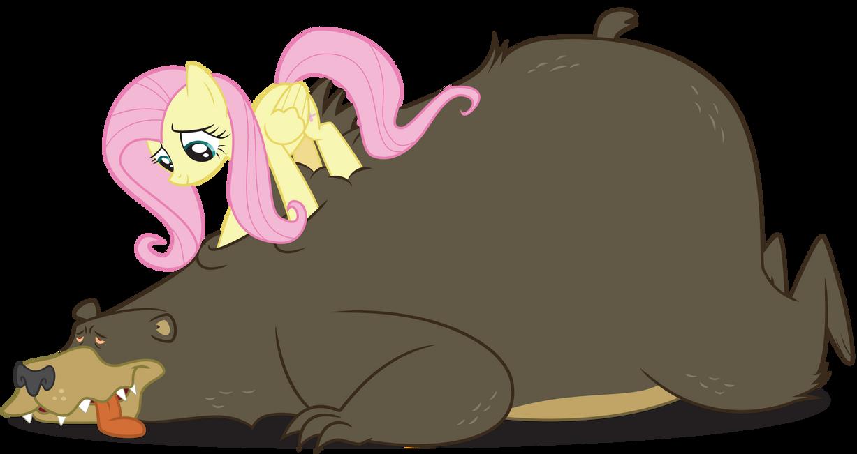 Fluttershy and Bear by alien13029