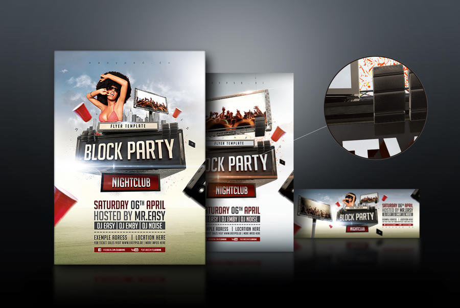 Block party flyer template by pixelfrei on deviantart for Block party template flyers free