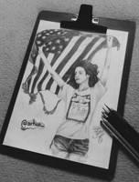 Lana Del Rey with pencils by FontesPotterhead