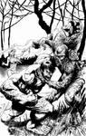 Hulk vs Swamp Thing Inks