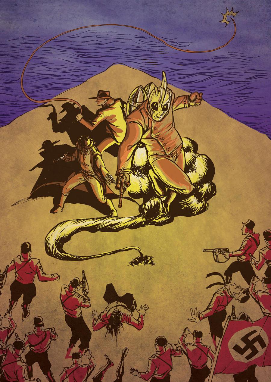 Jonah Hex, Rocketeer, and Indiana Jones vs Nazis by thecreatorhd