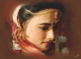 The Bengali Bride-A Portrait by S-A--K-I