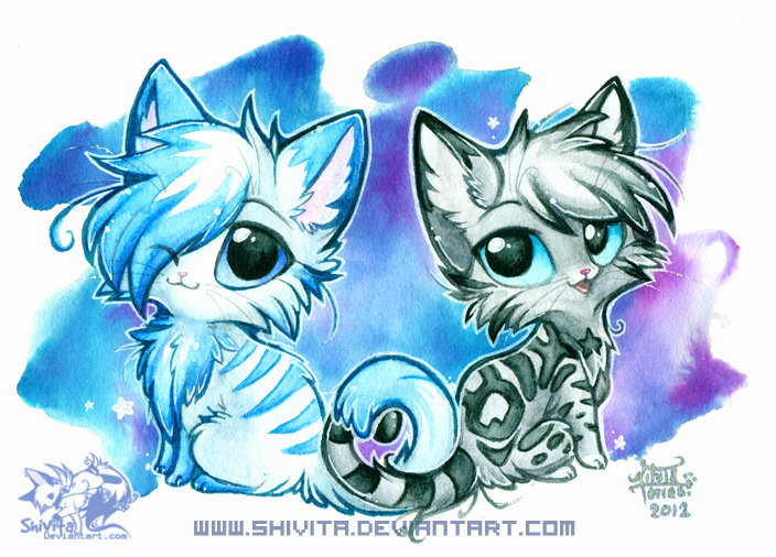 Chibi Anime Cat Drawing Chibi Starlight and Ho...