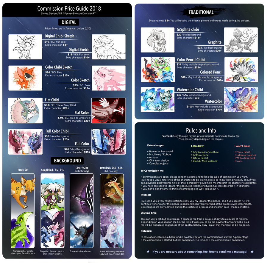 Commission Price Guide 2018