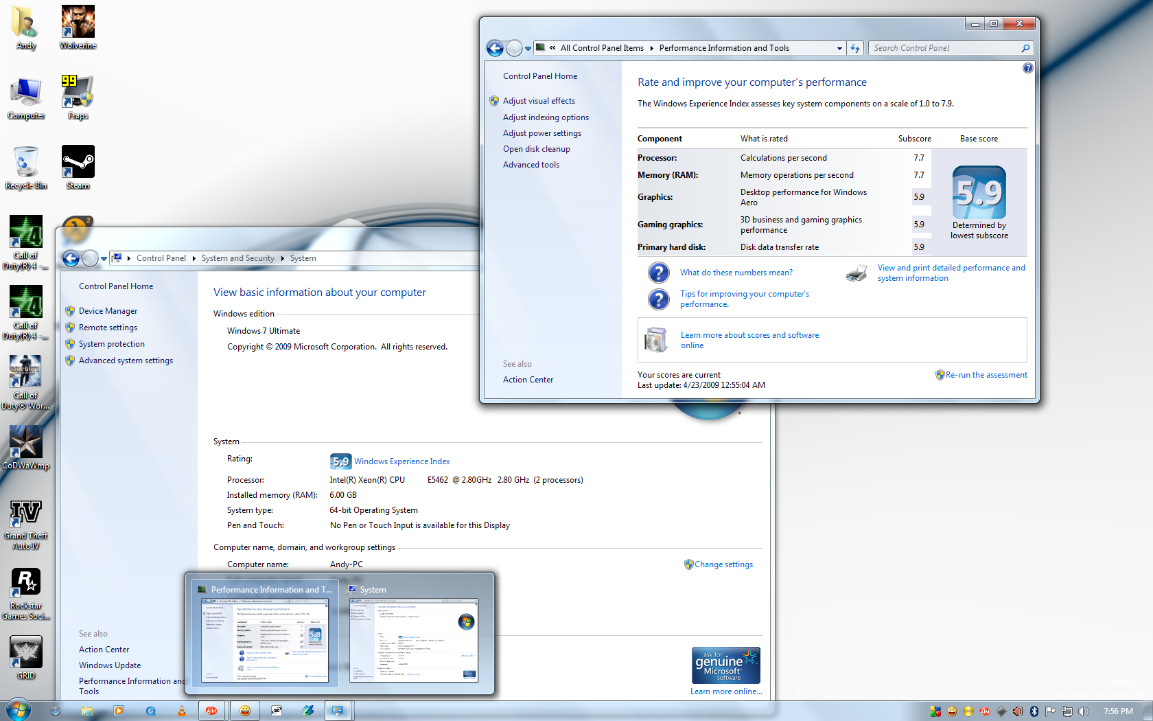 My Windows 7 7077 Desktop by andys184