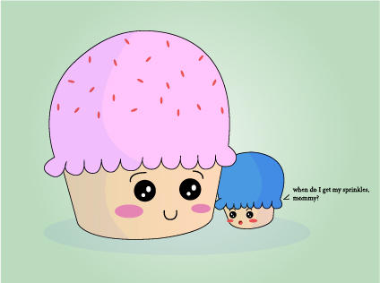 Cupcake mom and son