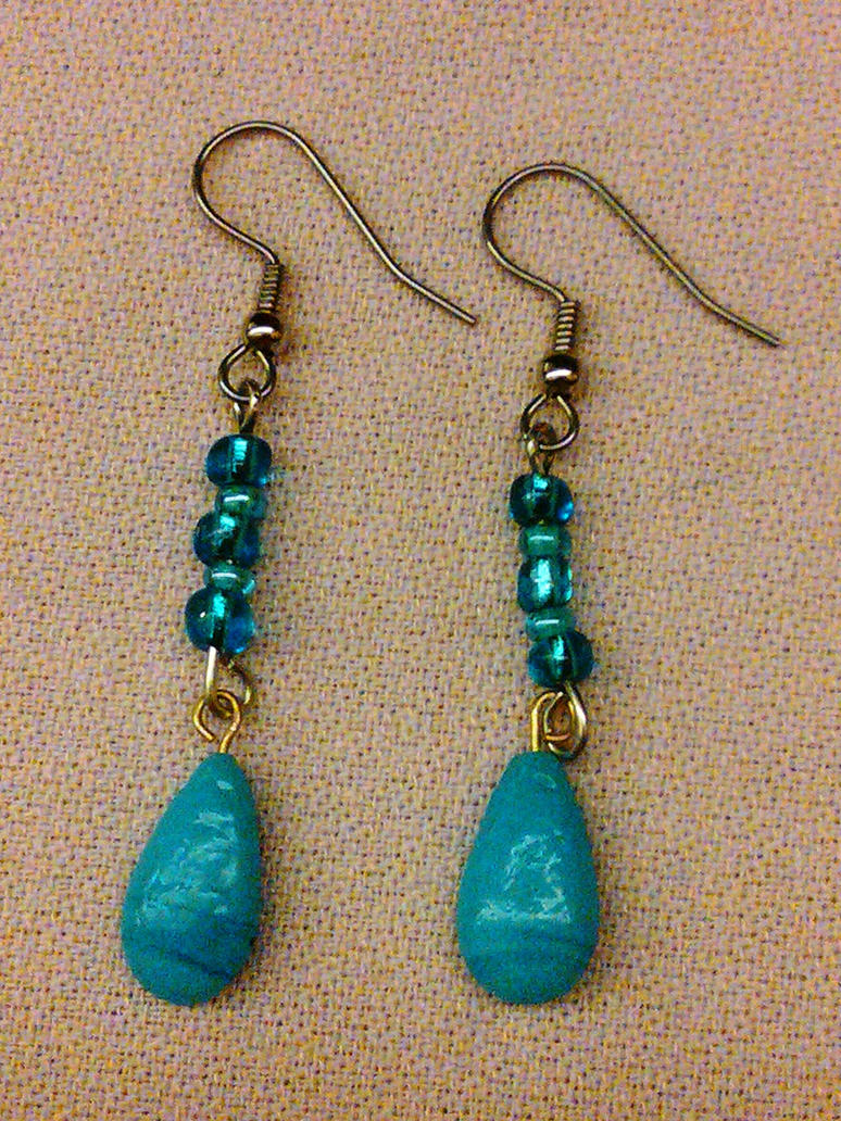 Blue teardrop Danglers by vanessa1775