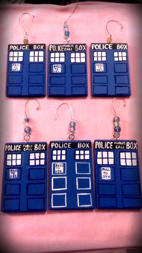 TARDIS wood ornaments by vanessa1775