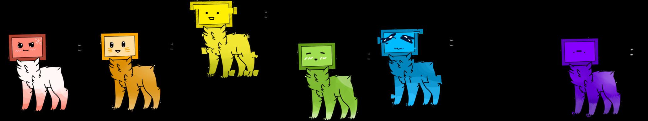 Random rainbow monitor pets .:OPEN:. by Caandygarden