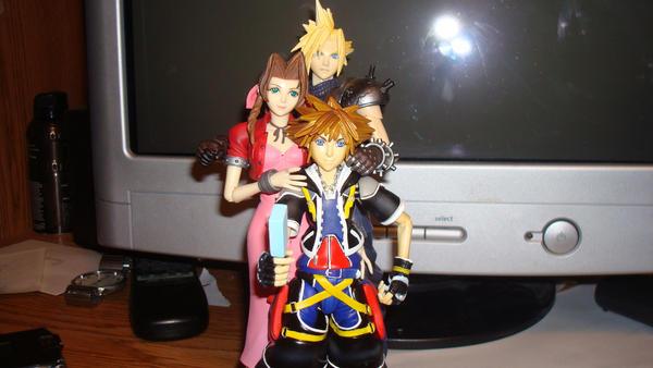 Cloud, Sora and Aerith by ZeroKurai