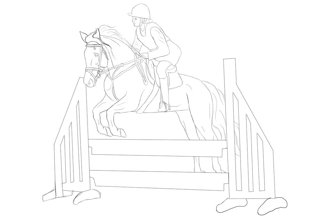 Jumping Horse Lineart ...