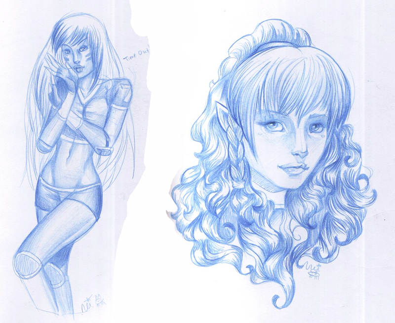 Blue pencil sketches by toolkitten