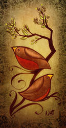birds on a vine colored by ToolKitten