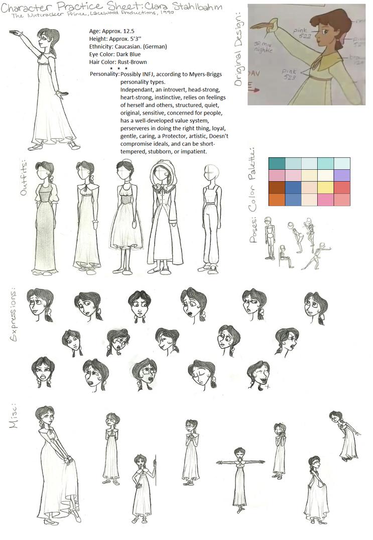 Character Design And Development : Clara tnp character design and development sheet by