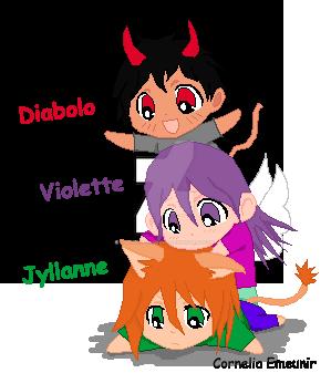 Mes 3 chibis (Diabolo, Violette et Jyllanne) by Cornelia-Emeunir