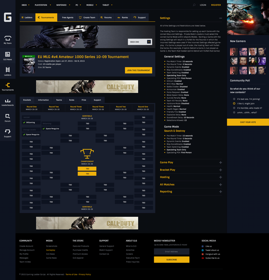 Gaming Ladder Script - Specific Tournament Bracket by JereKel