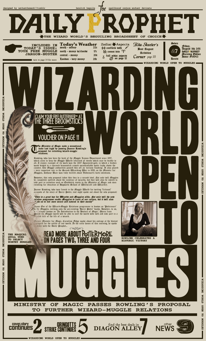 Best Daily Prophet Template Images >> Harry Potter Daily Prophet ...