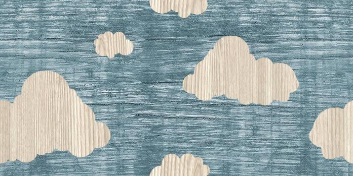Wooden Clouds: Wallpaper Tile.