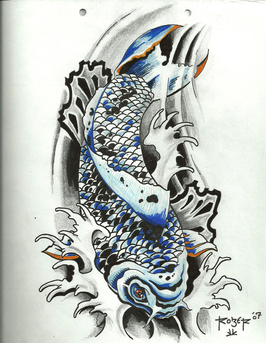 carpa koi azul by robersg on deviantart