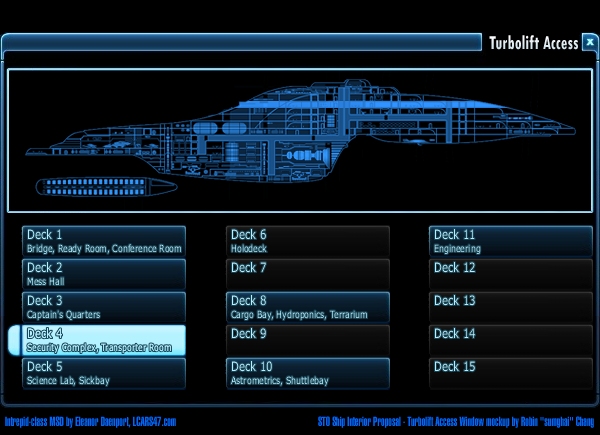 STO ship interior Turbolift UI mockup by sumghai