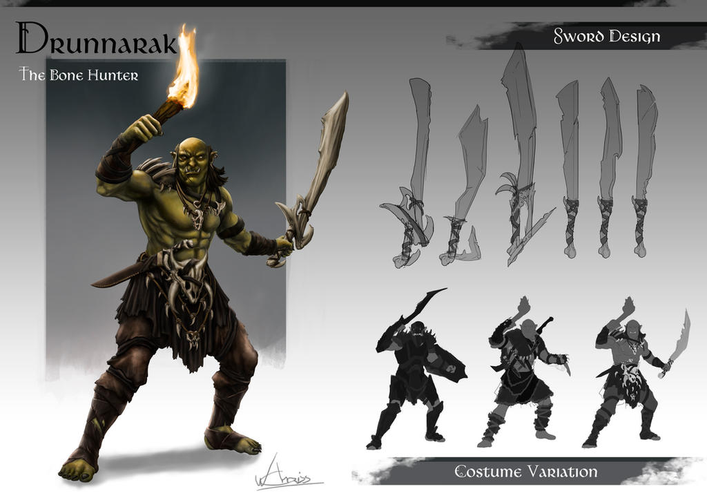 Drunnarak - The bone Hunter Charater Sheet by Chrissante