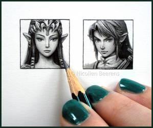 Zelda and Link - miniatures by Cataclysm-X