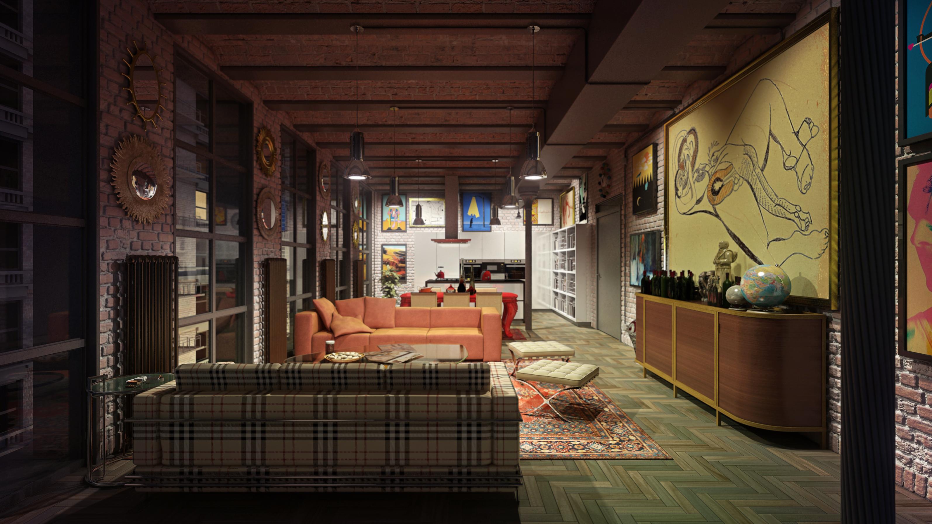 new york loft by bola3d on deviantart. Black Bedroom Furniture Sets. Home Design Ideas