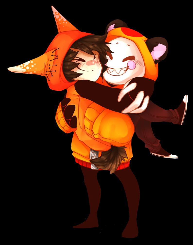 Orange hoodie snuggles by 13r-e