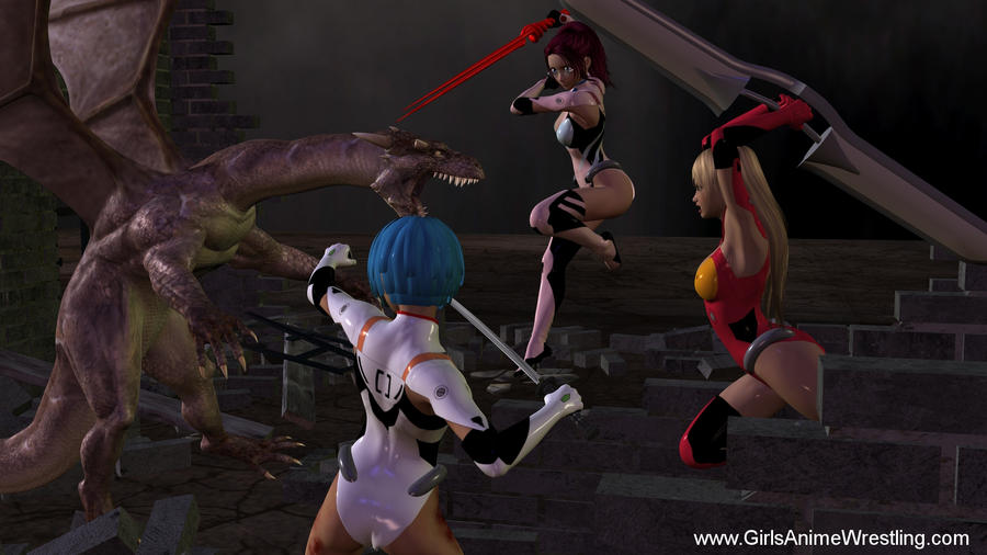 evangelion chics vs dragon by georgewrestling
