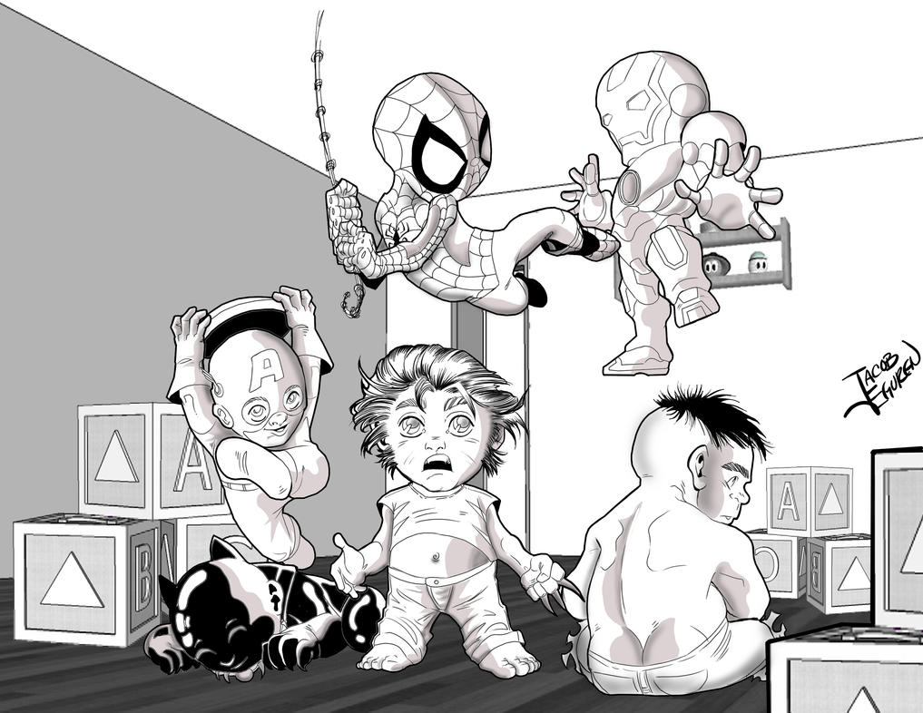 Marvel Heroes kids by Lobo777