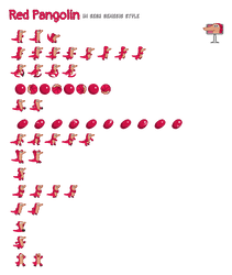Red Pangolin in Sega Genesis style by tarkan809