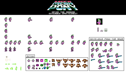 Mega Pony - Spike the dragon Extended Spritesheet by tarkan809