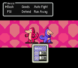 Red and Purple Pangolin in a Earthbound battle.