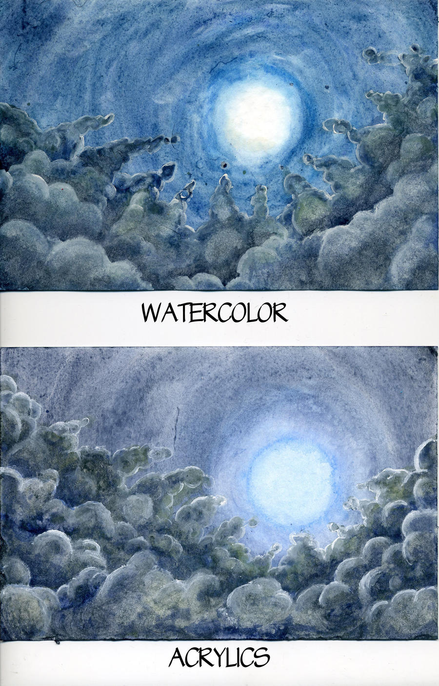 Watercolor vs acrylic round 2 by raspberrymetamorph on for Oil or acrylic