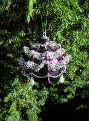 Purple Frilly Bauble