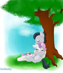 Rumble x Sweetie Belle under a tree (request)
