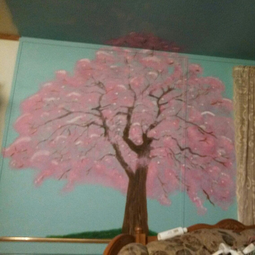 cherry blossom tree mural by adorkablecreations on deviantart