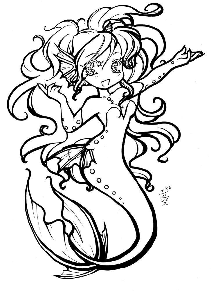 chibi pretty mermaid coloring pages - photo#10