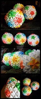 3 Sonobe Origami Balls
