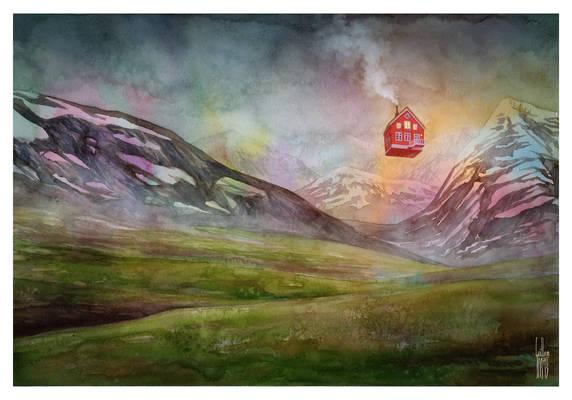 Icelandic Landscape with Floating House