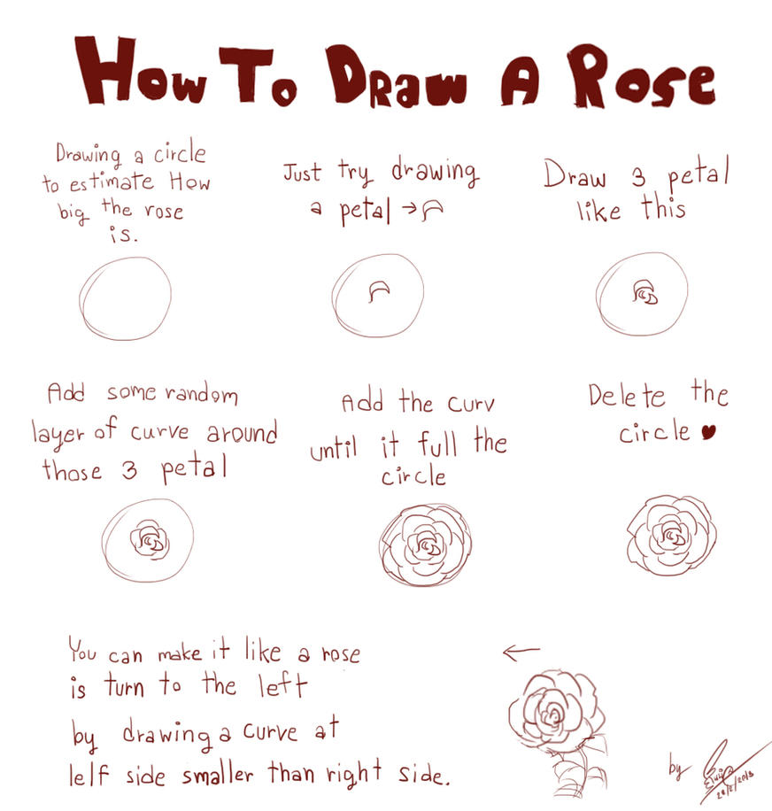 How to draw a rose by linnil on deviantart for Simple flower drawing tutorial