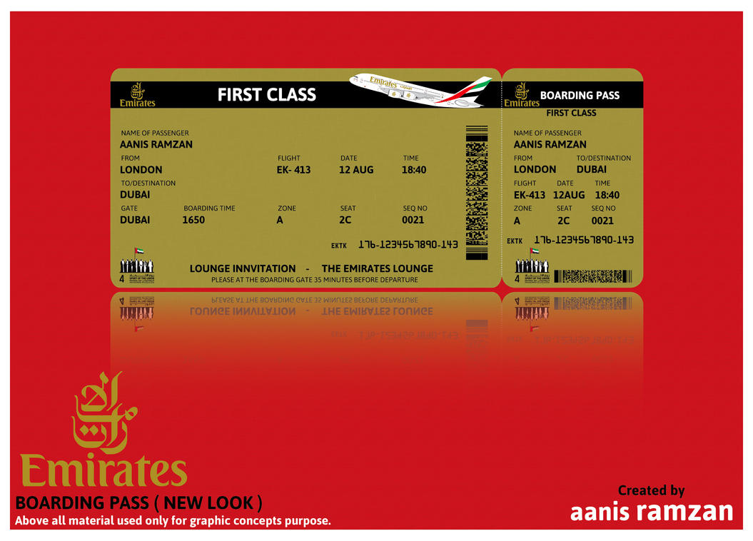 emirates boarding pass new look by aanis ramzan on deviantart. Black Bedroom Furniture Sets. Home Design Ideas